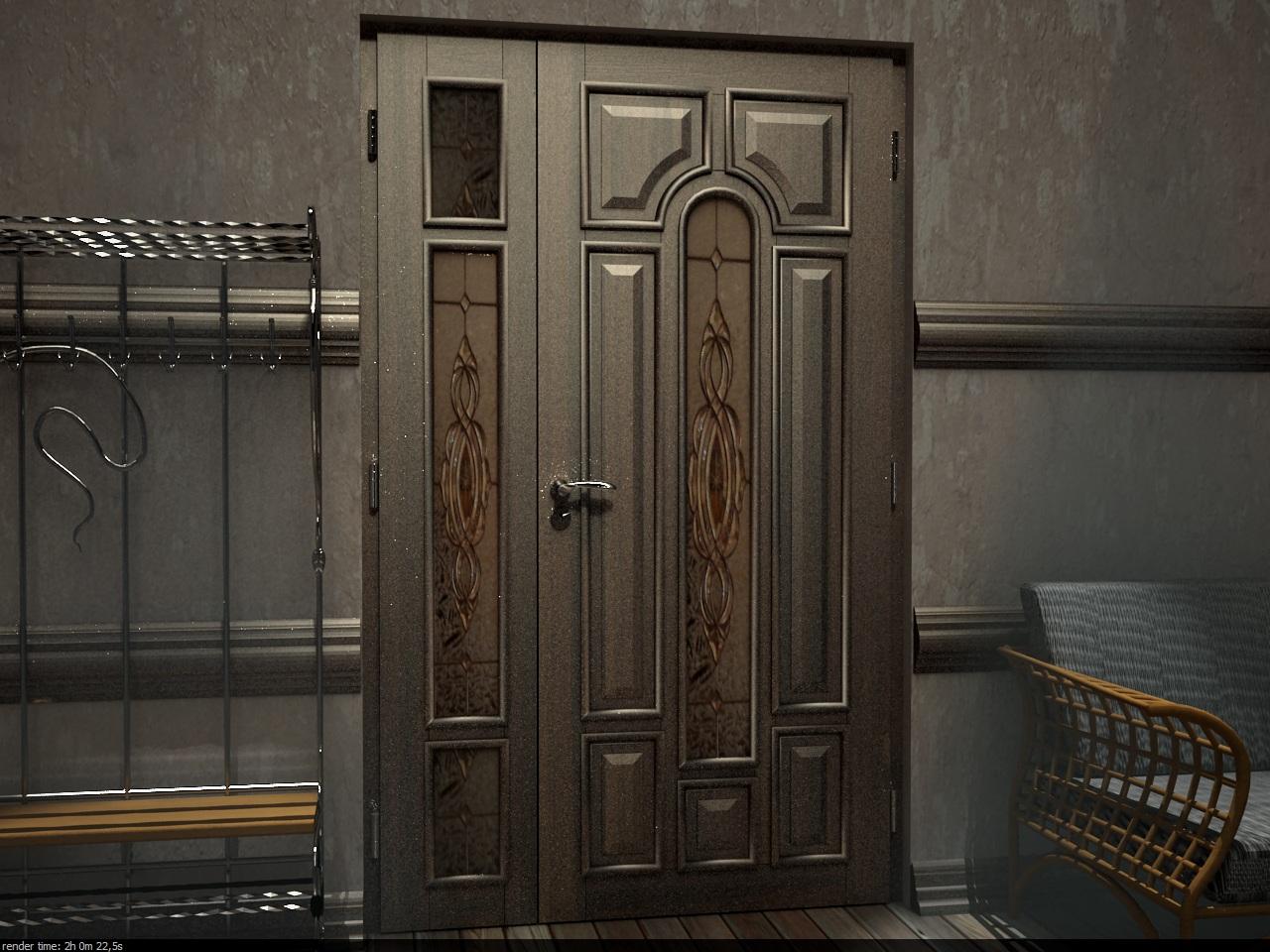 Портална врата, прозоречен тип, декорирана с витражи, с активно и пасивно крило, което се отваря при необходимост