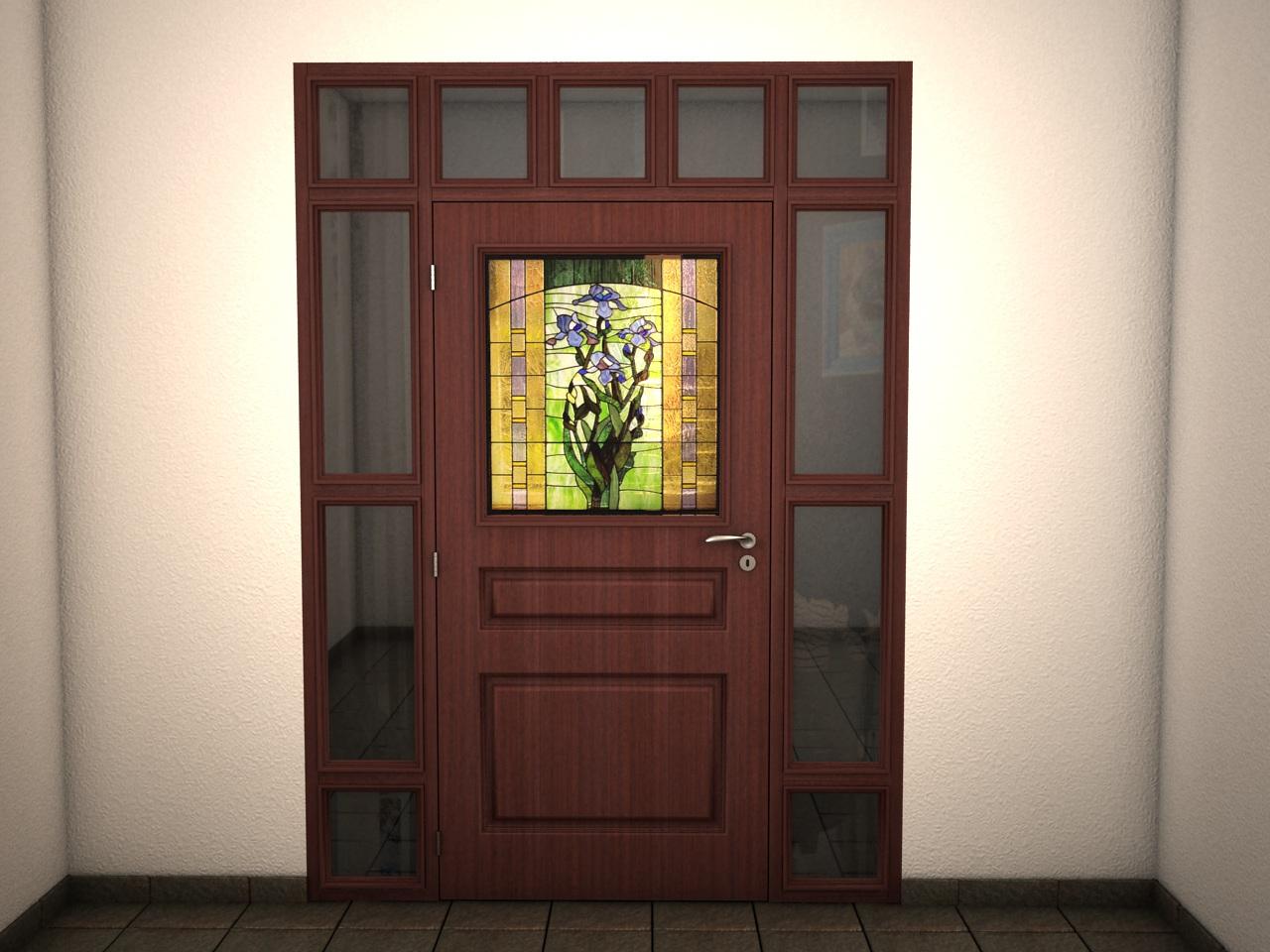 Масивна портална входна врата с витраж, неотваряеми части и оберлихт